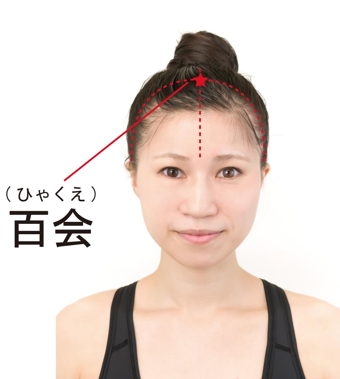 薄毛対策のツボ「百会(ひゃくえ)」のツボの位置を記した女性の画像