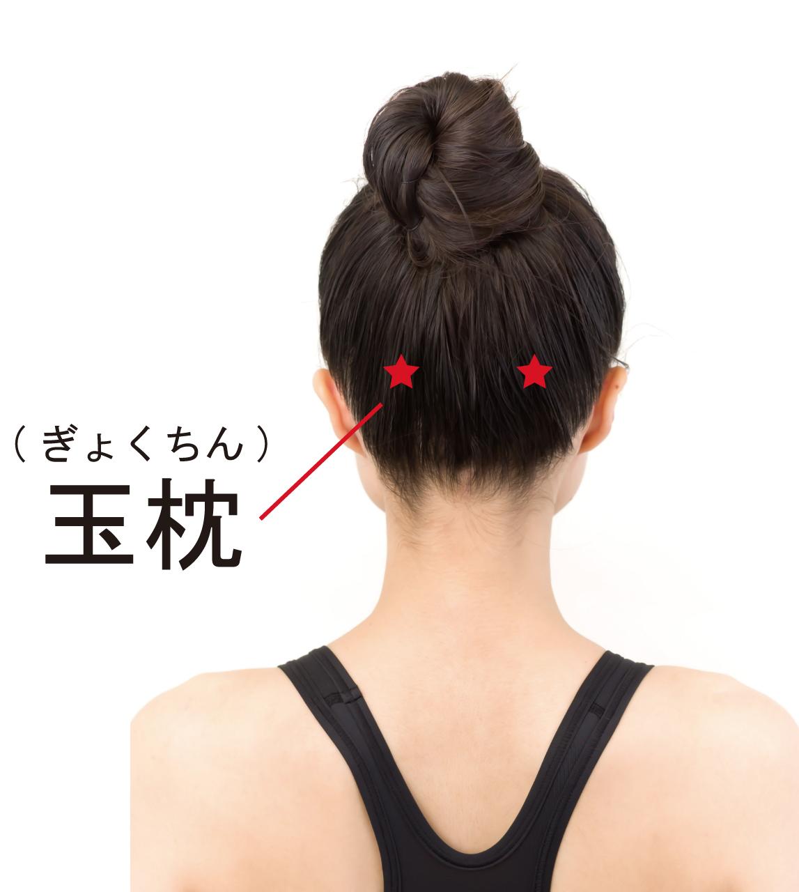薄毛対策のツボ「玉枕(ぎょくちん)」のツボの位置を記した女性の画像
