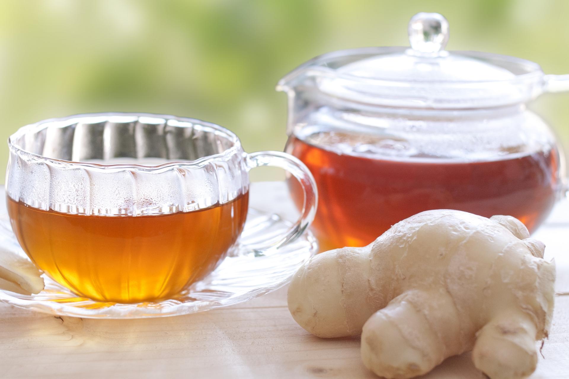 生姜紅茶と生姜