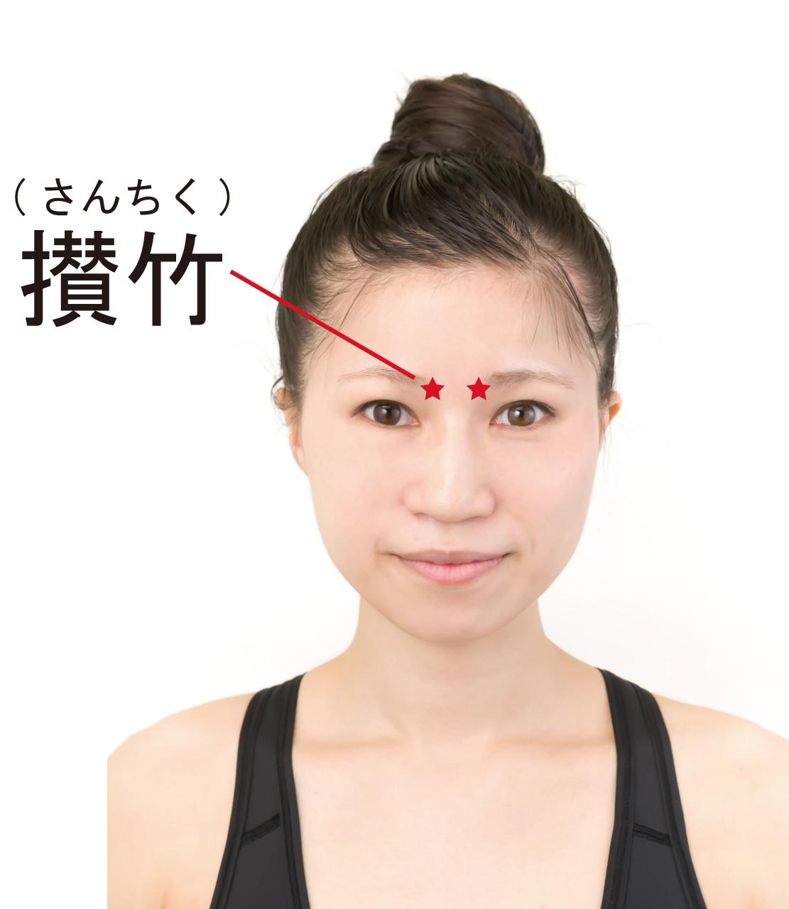薄毛対策のツボ「攅竹(さんちく)」のツボの位置を記した女性の画像