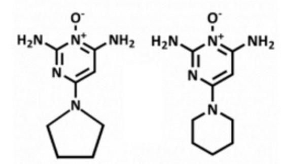 ミノキシジルとピディオキシジルの構造式